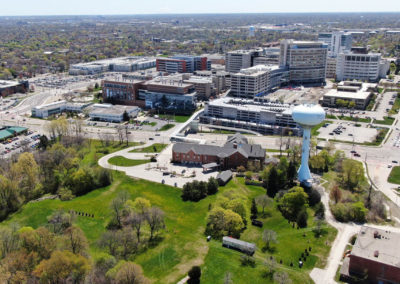 The Ronald McDonald House, Wauwatosa, Above Wisconsin, Drone aerial photo, before expansion,video surveillance, access control systems, structured cabling, network cabling, sales, installation, installers, mke, Milwaukee, Brookfield, Schaumburg