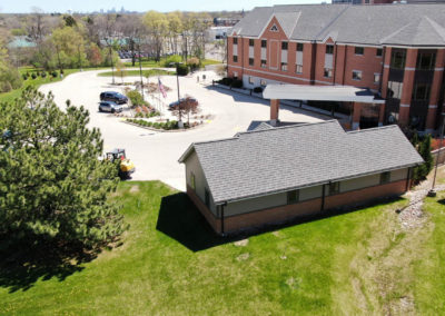 The Ronald McDonald House, Wauwatosa, Wisconsin, Drone aerial photo, before expansion,video surveillance, access control systems, structured cabling, network cabling, sales, installation, installers, mke, Milwaukee, Brookfield, Schaumburg